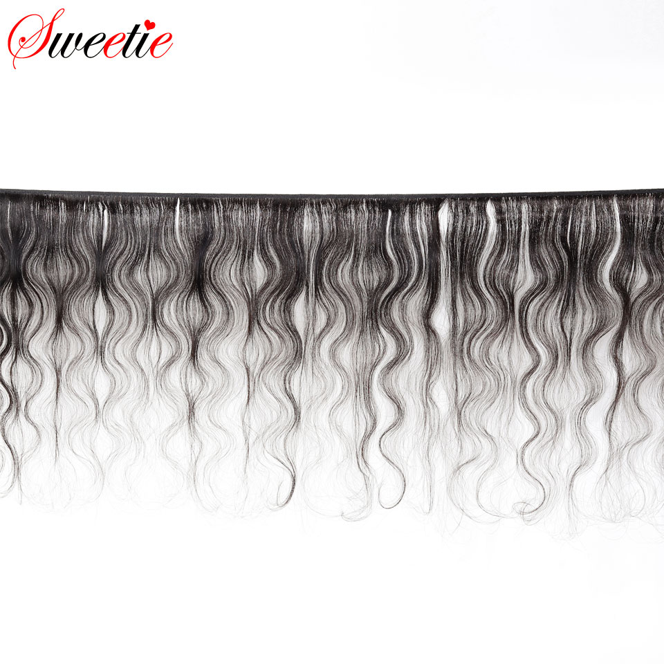Image 2 - Sweetie Brazilian Body Wave 13X4 Ear To Ear Lace Frontal Closure With Bundles Non Remy Human Hair With Lace Frontal Baby Hair-in 3/4 Bundles with Closure from Hair Extensions & Wigs