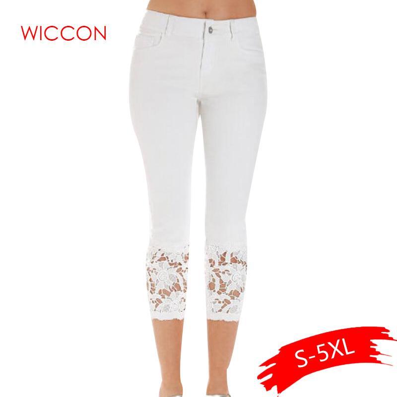 Plus Size Women Summer Lace Pants Skinny Stretch Cropped Leggings Trousers Capris Pants 3/4 Length Jeans