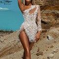 Bonnie Forest блеск на одно плечо с серебристыми блестками мини платье с украшением женские высокий разрез с бахромой вечерние Клубное платье сек...