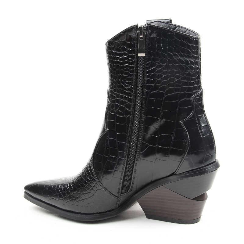 2019 Sonbahar Kış Moda Cowgirl çizmeler kadın ayakkabıları Batı Kovboy yarım çizmeler Sivri Burun Deri siyah ayakkabı Kadın Topuk Çizmeler