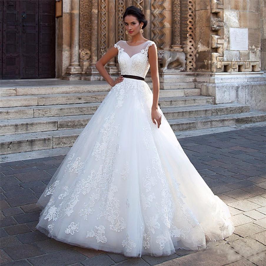 A Line Scoop Neck Wedding Dress Vestidos De Novia Mariage Lace Appliques Backless With Black Belt Wedding Gowns Bride Dress