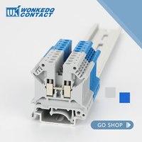 Zaciski na szynę din 10 szt. UK 5N złącze śrubowe klasy uniwersalnej przewody stykowe UK5N mocowanie panelu listwy zaciskowe w Łączówki od Majsterkowanie na