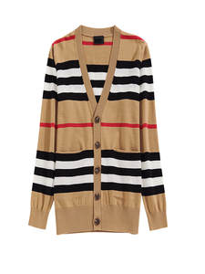 Knitted Jacket Trench-Coat Cashmere-Cardigan Striped Sweater Thin Women's Ladies Loose
