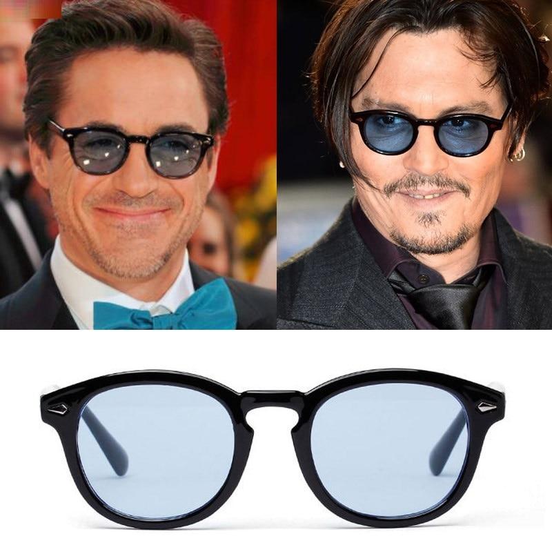 Vintage Retro Johnny Depp Style Round Sunglasses Green//Blue//Purple Lens Glasses