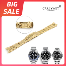 CARLYWET 20mm Gold Silver Solid Curved End Screw Links Glide Lock Clasp Steel Watch Band For Rolex OYSTER Daytona GMT Submariner