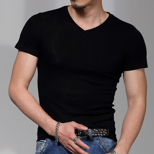 Image 2 - New men round collar short sleeve T shirt v neck pure color T shirt and a half sleeve T shirt cultivate ones morality is tight