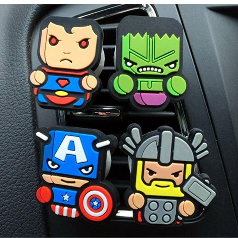 Cartoon Super Heros Car Perfume Air Freshener Diffuser Car Fragnance Clip Vent Parfume Flavoring Accessories Decoration