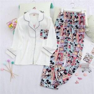 Fiklyc Cartoon Mickey Lange Mouwen Ijs Zijde Home Service Vrouwen Zoete Meisje Toevallige Vest Pyjama Set