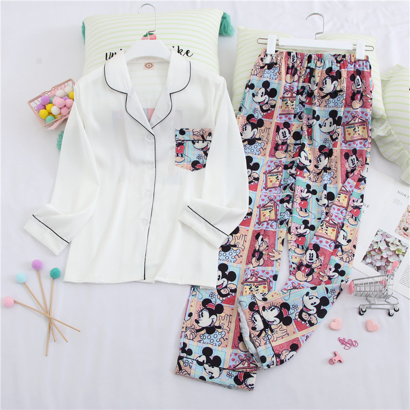 Fiklyc Cartoon Mickey Long Sleeve Ice Silk Home Service Women's Sweet Girl Casual Cardigan Pajama Set