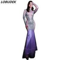 Sparkly Silver Rhinestones Purple Dress Women Birthday Celebration Dresses Singer Host Prom Stage Evening Party Slim Long Dress