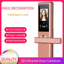 Facial Recognition Intelligent Lock Touch Screen Smart Security Locks Palmprint Finger Password Face IC Card Keyless Door Lock
