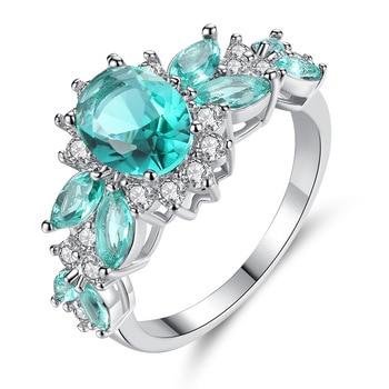 Womens Fashion Ring Micro Inlaid Green Blue Zircon Classic Luxury Ring Female Engagement Ring Anniversary Gift