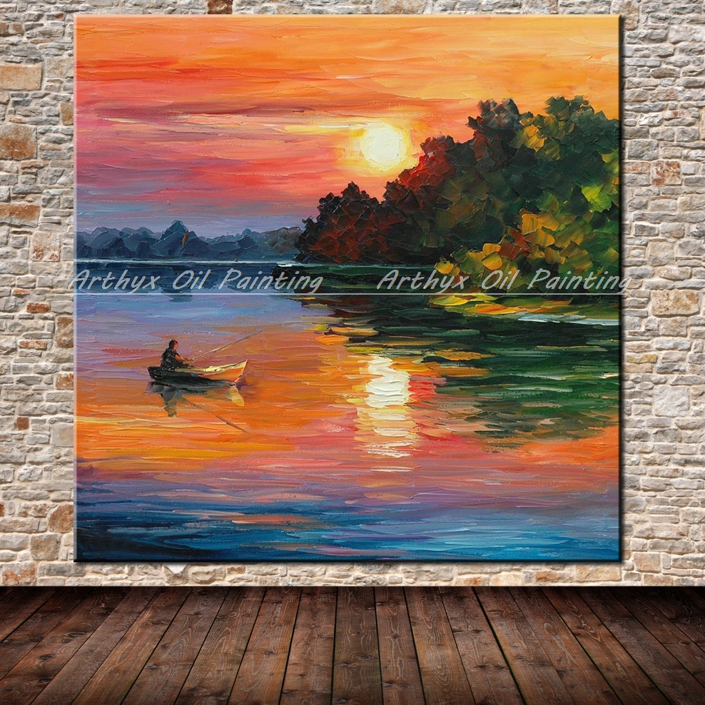 Hand Painted Palette <font><b>Knife</b></font> The Sea Fishing <font><b>Boats</b></font> Sunset Oil Painting Modern Home Canvas Living Room Decor Art No Framed Pictures image
