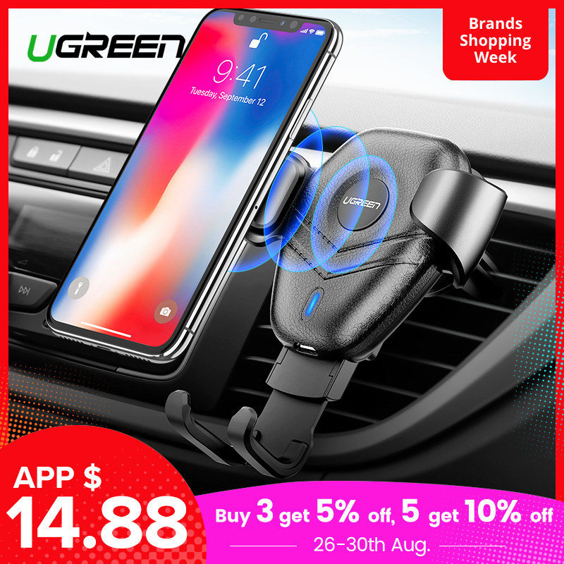 Ugreen Car-Phone-Holder Qi Wireless-Charger Xiaomi iPhone X S10 Samsaung for Xr S9 Fast