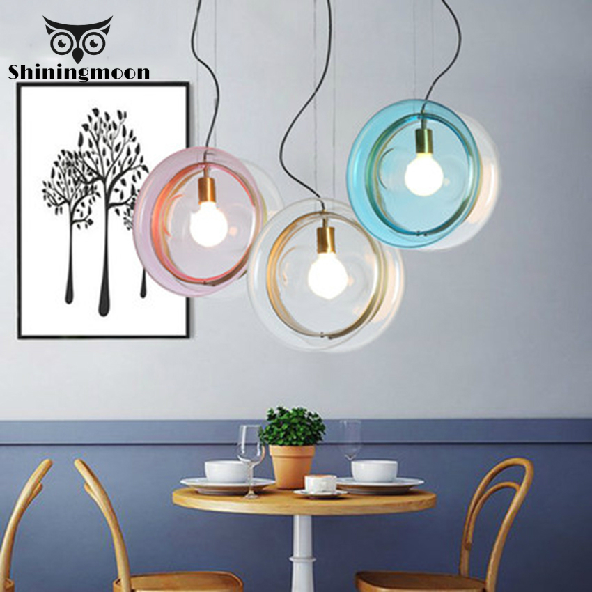Modern Colorful Gradient Glass LED Pendant Lights Nordic Living Room Pendant Lamp Bedside Home Decor Cord Pendant Light Fixtures