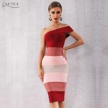Adyce 2020 新夏の女性の包帯ドレス Vestidos セクシーなワンショルダーノースリーブミディクラブドレスセレブイブニングパーティードレス