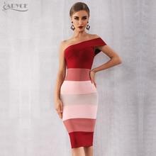 Adyce 2020 nowe letnie kobiety bandaża sukni Vestidos Sexy jedno ramię bez rękawów Midi sukienka klubowa Celebrity suknie wieczorowe