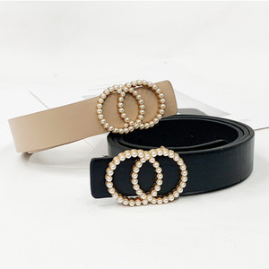 Inlaid Pearl Belts for Women waist Luxury Simple High Quality PU letaher Belt jeans Belts for Dress studded buckle girls 2020(China)