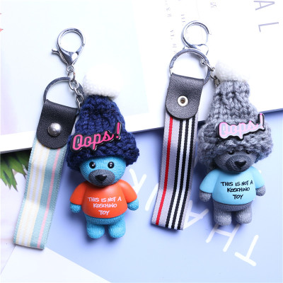 2019 Teddy Bear Key Chains Women Cute Bear Love Ribbon Keychain Key Rings Fashion Bag Car Charms Jewelry For Valentines Day Gift