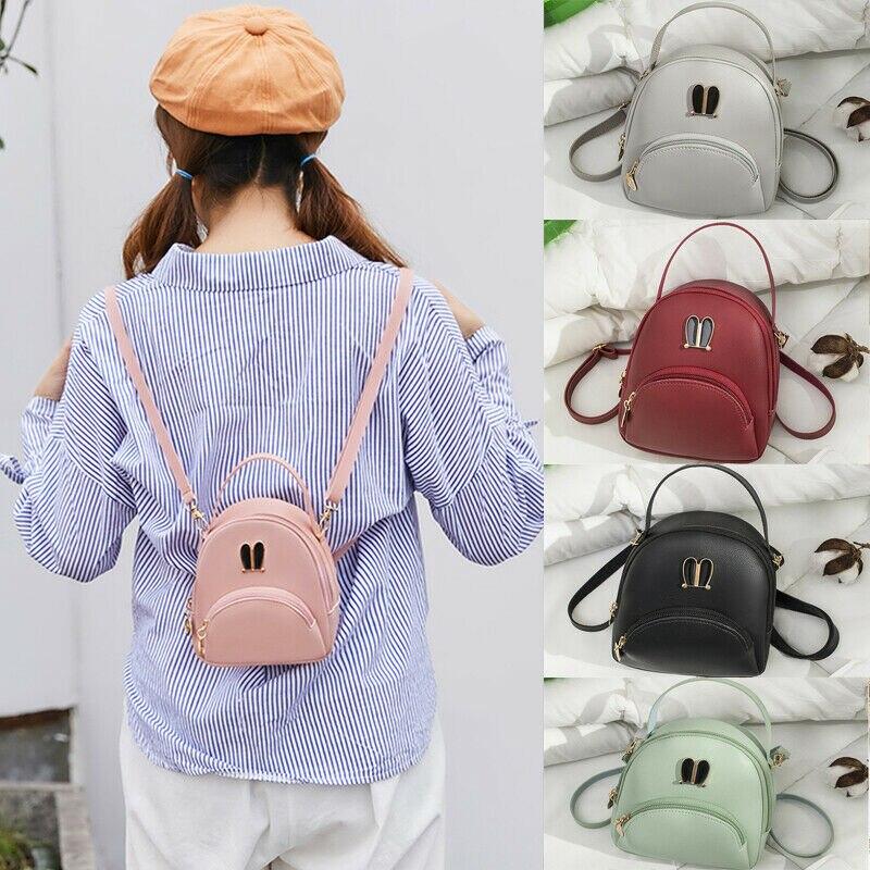 Women Girls Mini Backpack Faux Leather Rucksack School Bag Travel