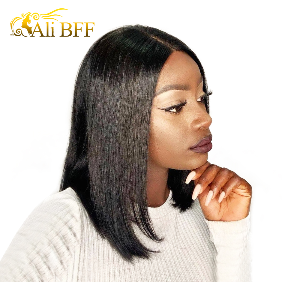 ALI BFF Short Lace Front Human Hair Wigs For Black Women Brazilian Straight Non Remy Bob Wig Lace Front Wig Pre Plucked