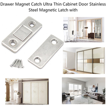 magnet door stops cupboard home cupboard office door self closing strong magnetic adsorption magnet buckle 2/4/8 Pcs/Set Strong Cabinet Door Catch Magnetic Latch Stainless Steel Drawer Magnet for Furniture Cupboard with Screws