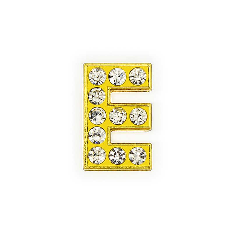 1pc 8 ミリメートル黄金色ラインストーンスライド手紙スライドチャーム A-Z フィット Diy リストバンドブレスレットペット襟の女性の宝石ギフト