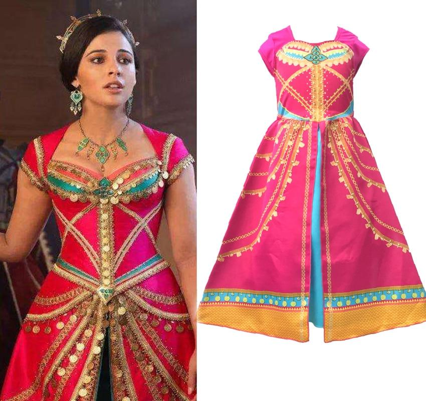 Aladdin Costume Jasmine Dress Pink Fuchsia Outfit For KidsGirls Costumes   -