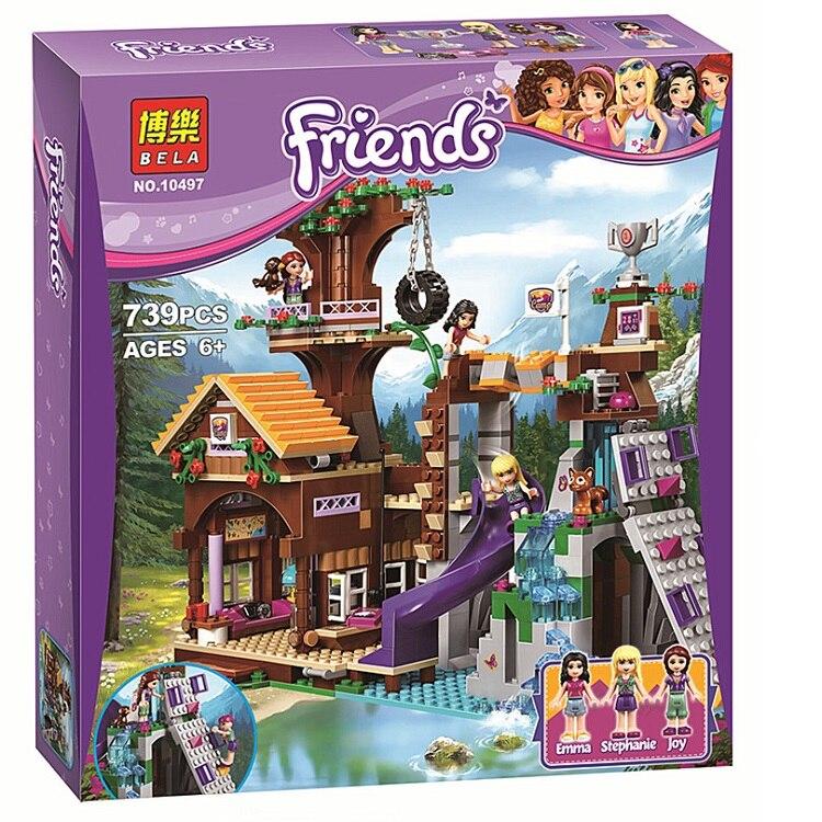 Друзья Приключения лагерь домик на дереве Emma Mia совместим с Lepining друзей 41122 Рисунок модель хобби для детей Рождественский подарок