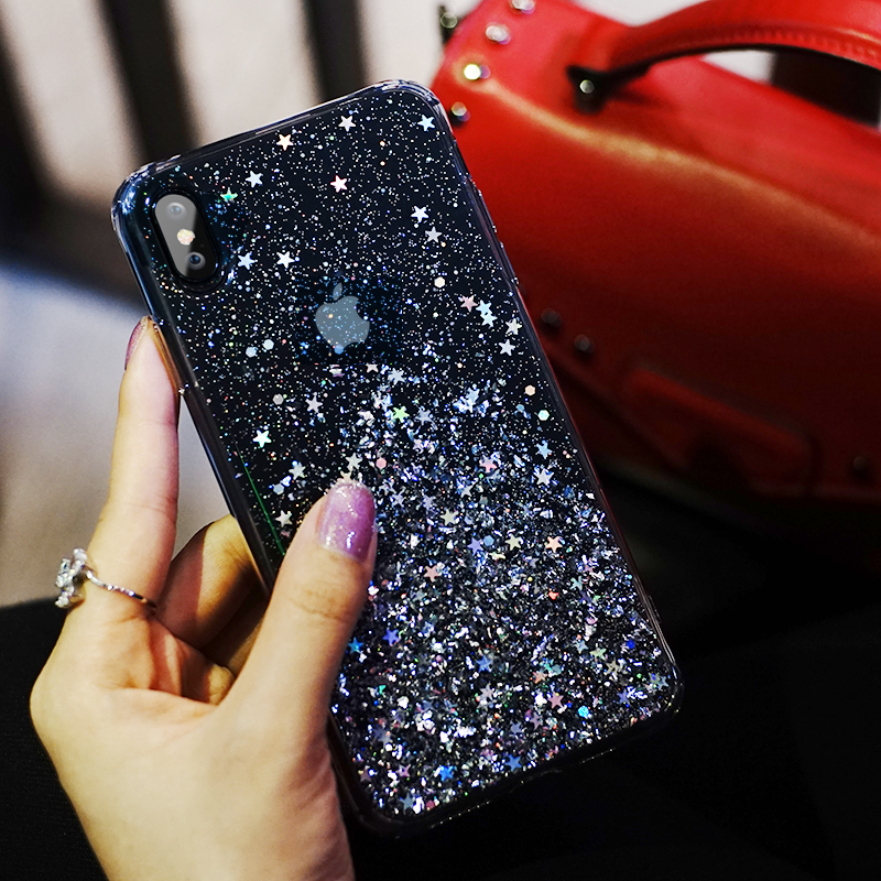 Fashion <font><b>Glitter</b></font> <font><b>Case</b></font> for <font><b>iPhone</b></font> X <font><b>XR</b></font> XS Max Silicone Bling Crystal Sequins Cover for <font><b>iPhone</b></font> 7 8 6 6S Plus 11 Pro Max Transparent <font><b>Phone</b></font> <font><b>Case</b></font> image