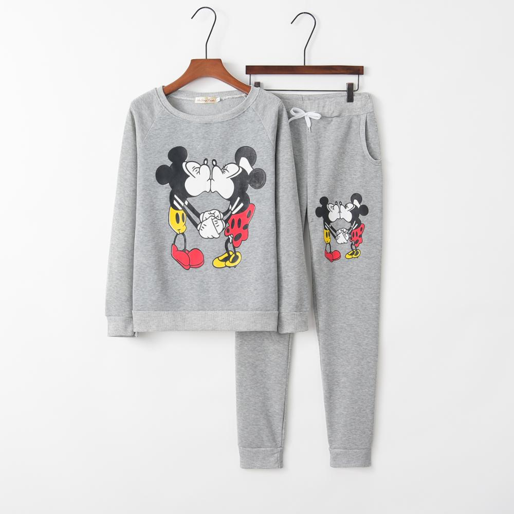 Winter Mickey Mouse Print Two Piece Set Women Fashion O Neck Long Sleeve Top And Pants Tracksuit Women Clothes 2019 Zaful