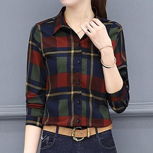 Woman Turn-down Collar Blouses Tartan Plaid Flannel Blouse Roll Up Sleeve Casual Office Tops Button Down Blouse Camisas Mujer