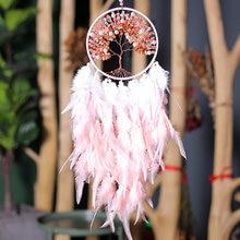 Attrape-rêves fait à la main de Style moderne, pierres colorées, décor d'arbre de vie, décoration suspendue de chambre, cadeaux pour filles