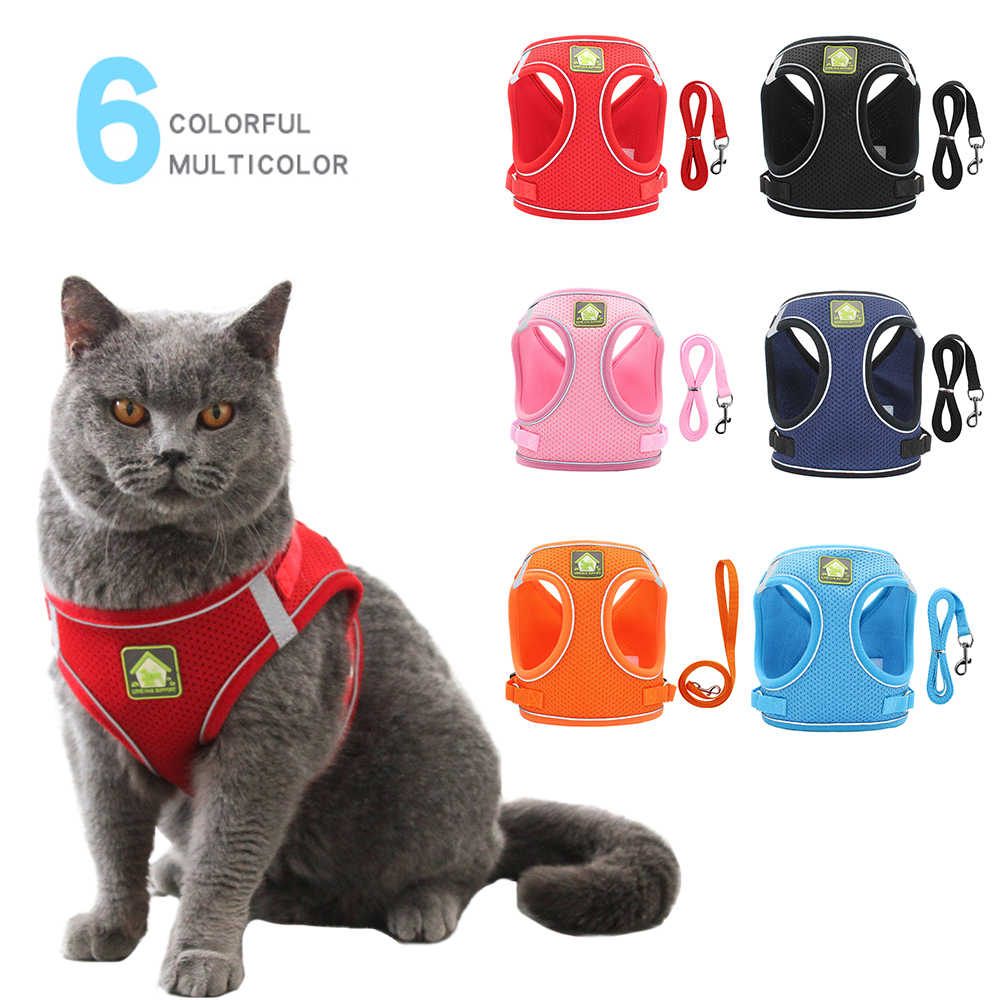 Reflektierende Katze Harness Und Leine Set Nylon Mesh Kätzchen Welpen Hunde Weste Harness Führt Haustier Kleidung Für Kleine Hunde Yorkies mops #15