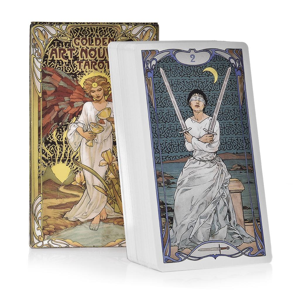 78 Golden Art Nouveau Tarot Tarot Cards Board Game Cards English Divination Tarot  Holiday Family Gift Party Playing Card