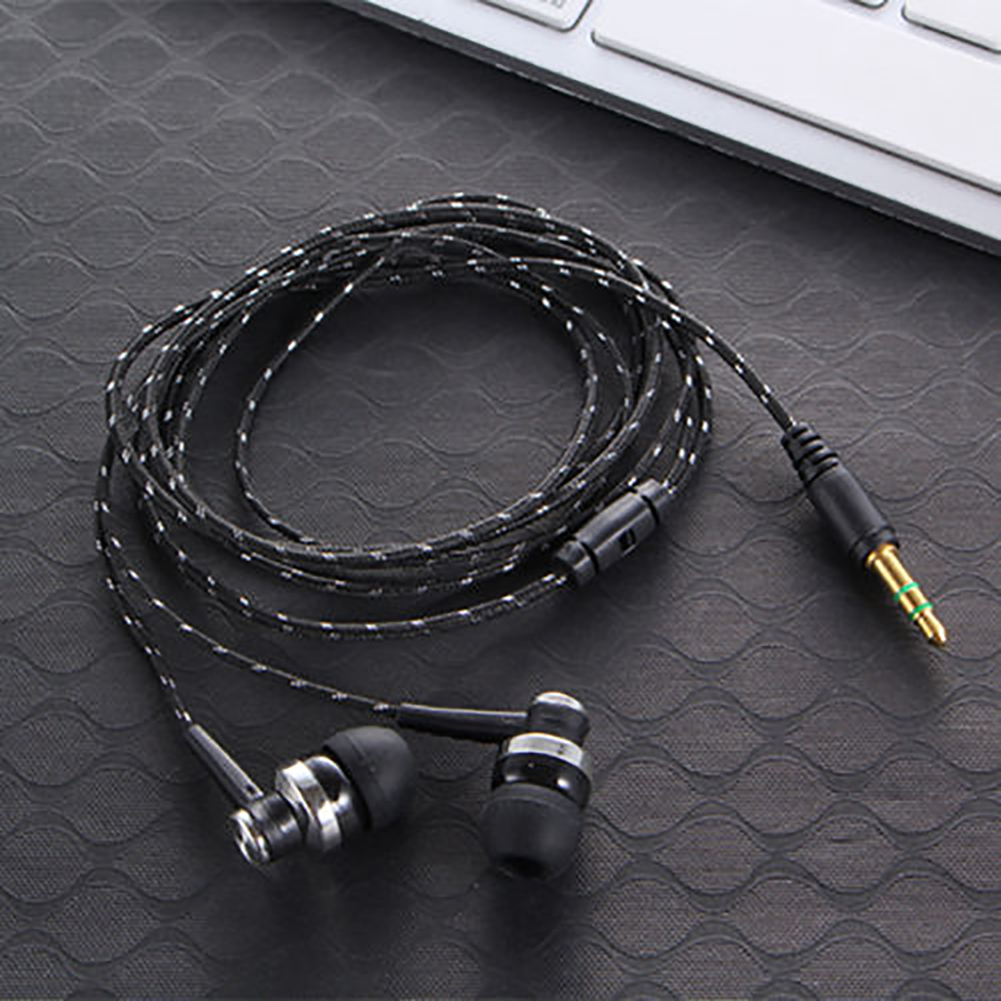 High Quality Wired 3.5mm In-Ear Earphone Brand New Stereo Nylon Weave Cable Earphone Headset With Mic For Laptop Smartphone image