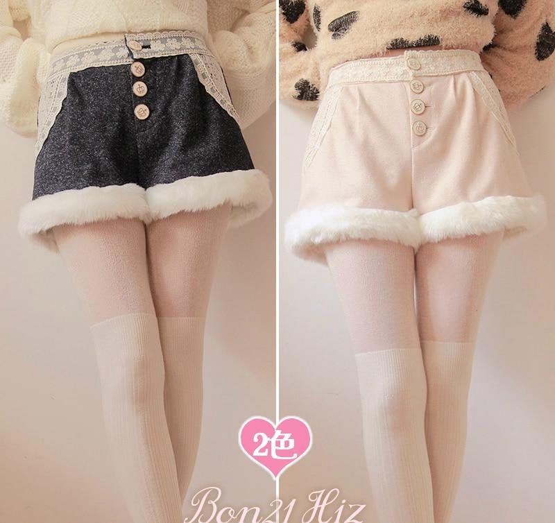 Princess Sweet Lolita Shorts Possbie Bobon21 White Soft Wool  Warm Thick Woolen Moben Shorts B0939
