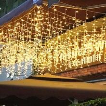 1x droop 0.4-0.6m led cortina icicle string luzes ano novo festa de casamento guirlanda led luz para decoração de natal ao ar livre