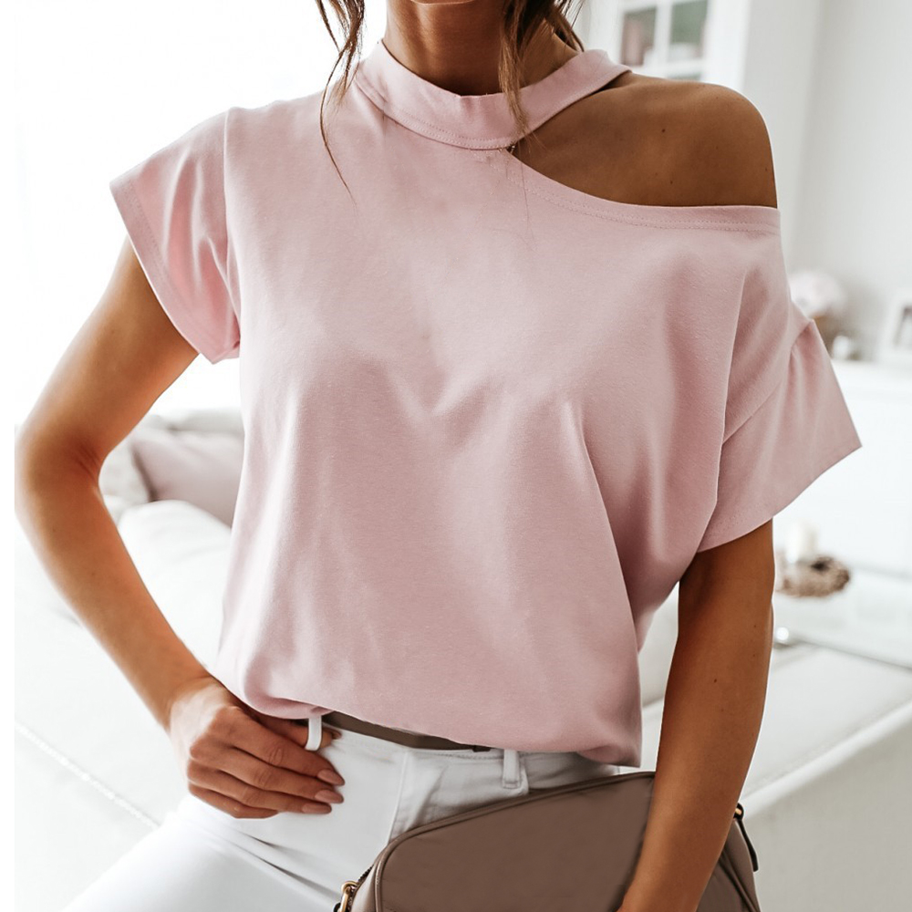 One Shoulder Halter Girls White Short Sleeve Solid Black Ladies 2020 Summer Fashion Casual Tops Women