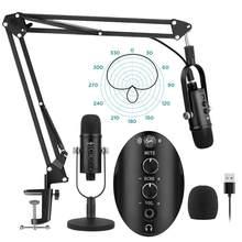 Micrófono condensador profesional USB para grabación de Podcast, brazo de suspensión para PC, Kit de soporte ajustable para YouTube