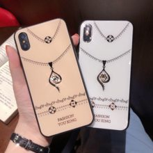 Bling Necklace Phone Case For OPPO Reno 3 2 Z 10X Zoom Hard Glass Cover Case for OPPO R17 Pro R15 X Dream K5 K3 K1 A9 Phone Capa(China)