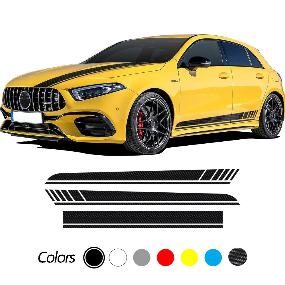 For Mercedes Benz A Class W177 5-Door Hatchback 2018-Present Edition 1 AMG Car Hood Vinyl Decal Side Stripes Skirt Sticker