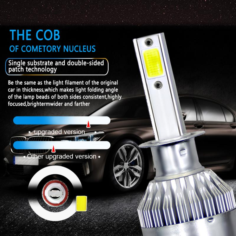 H1 Car LED Headlight Kit 72W 8000LM Turbo Light Bulb 6000K Beam Angle 360 Degree Waterproof Auto Product Car Accessories