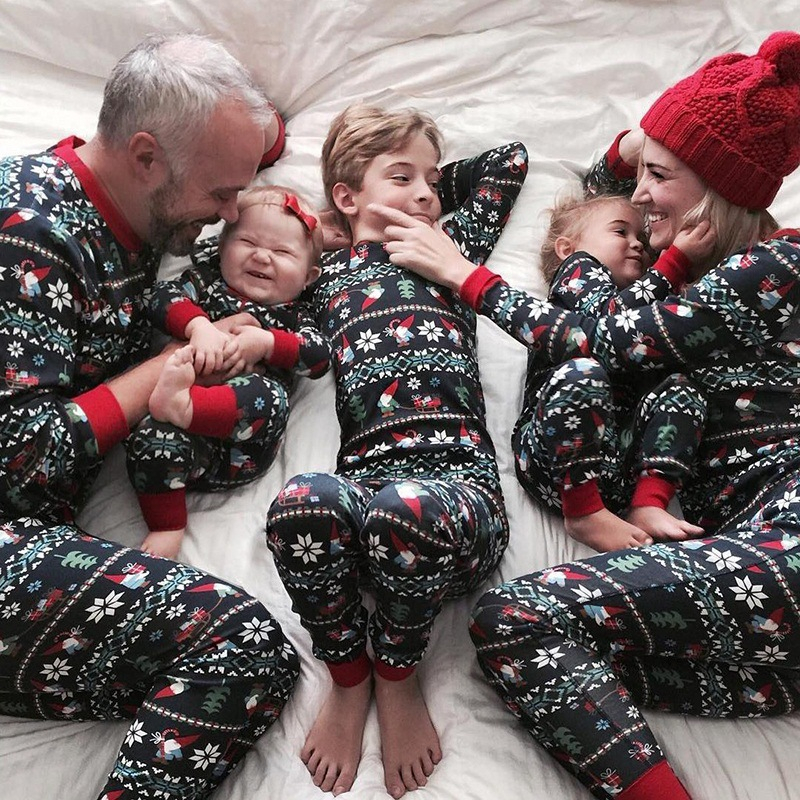 RICORIT Famili Matching Outfits 2 PCS Set Clothing Family Mother Daughter Matching Pajama Cotton Clothing Suit Christmas Pajamas