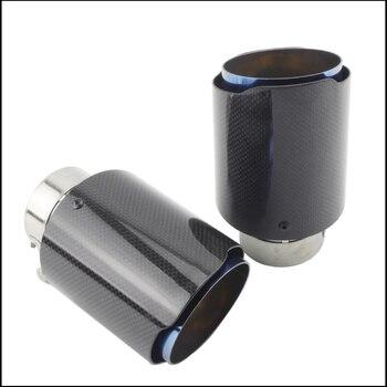 Diseño De Coche Brillante De Fibra De Carbono Silenciador De Los Sistemas De Escape Tubos De Cola De Acero Inoxidable Ajuste Sarga Recta Azul