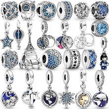 Hot Sale 925 Sterling Silver Star snowflake moon Murano Glass Beads Clip Charm Fit Original Pandora Bracelet Bangle Jewelry Gift