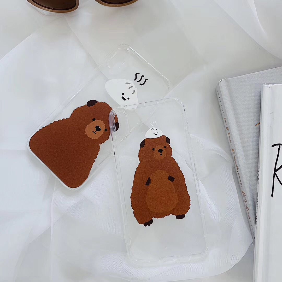 INS Fundas cute buns coffee bear phone case For iphone Xs MAX XR X 6 6s 7 8 plus funny design couple clear soft TPU back Cover
