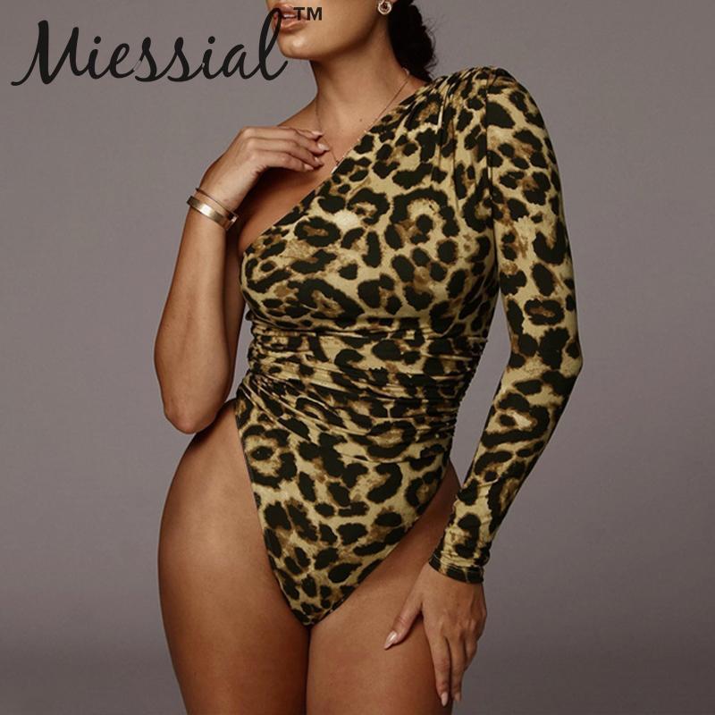 Miessial Leopard Print One Shoulder Sexy Bodysuit Women Long Sleeve Bodycon Jumpsuit Romper Autumn Winter Party Club Bodysuit