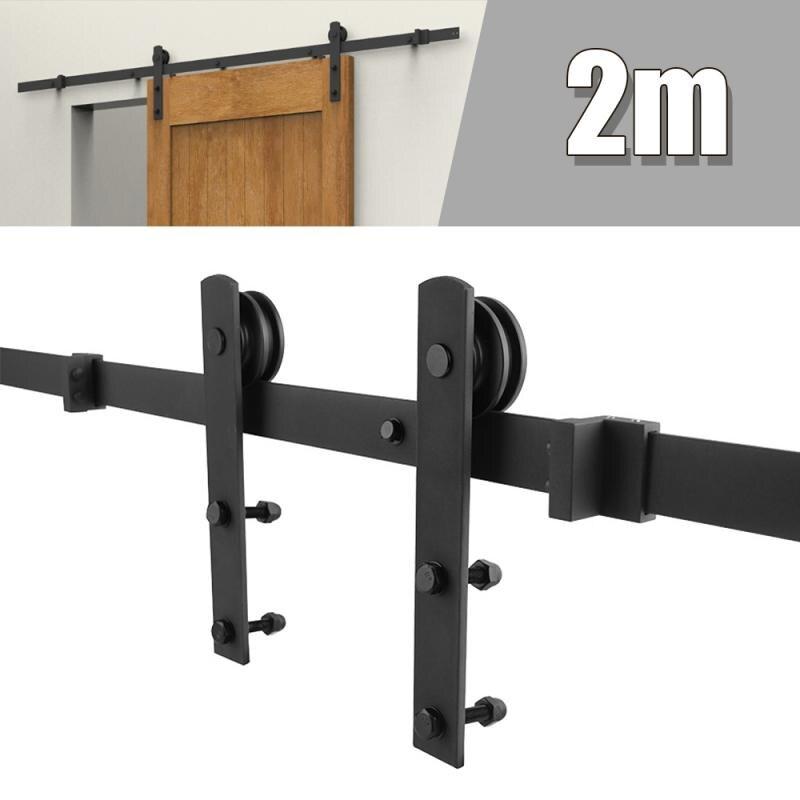 200 см дверное оборудование для раздвижной двери сарая для Европы деревенский черный подвесной рельсовый шкаф деревянная дверь сарай дверна...
