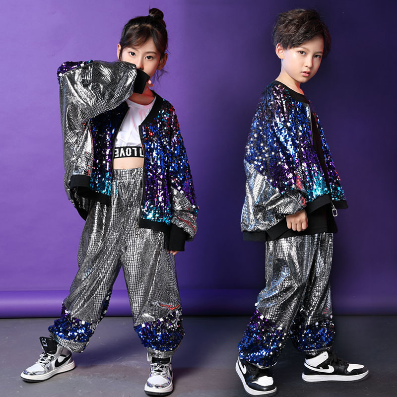 New Hip Hop Kids Sequin Costume Stage Wear T-Stage Show Clothes Boys Drumming Performance Outfit Children Hip Hop Girls VDB942